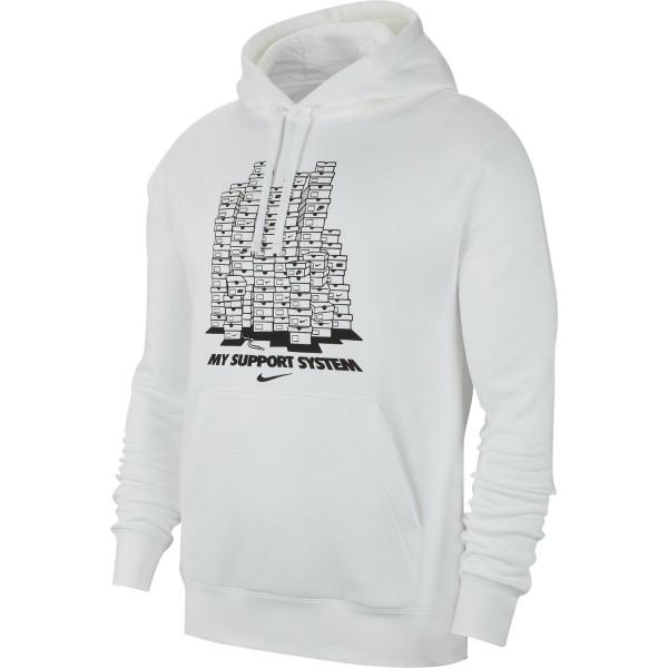 """Sportswear Fleece """"Support System"""" Hoodie (White)"""