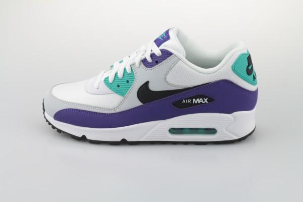 Air Max 90 Essential (White / Black - Hyper Jade - Court Purple)
