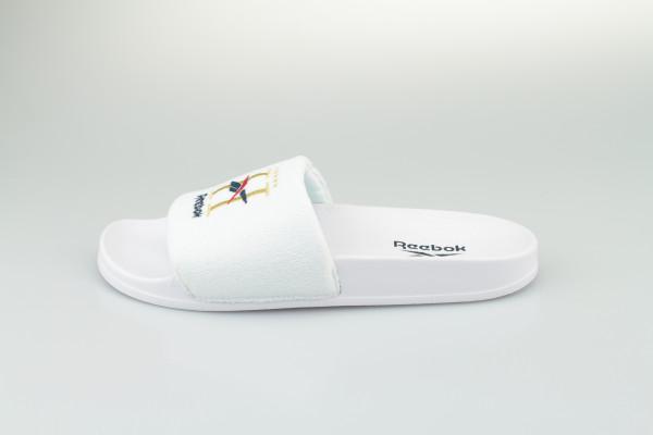 Reebok Classic Slides (White / Gold Metallic / Collegiate Navy)