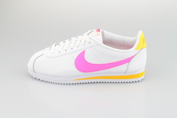 Wmns Classic Cortez Leather (White / Laser Fuchsia - Laser Orange)
