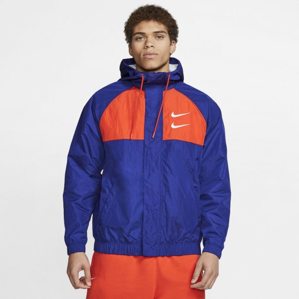 Nike Swoosh Hooded Jacket ( Deep Royal Blue / Team orange / White / White )