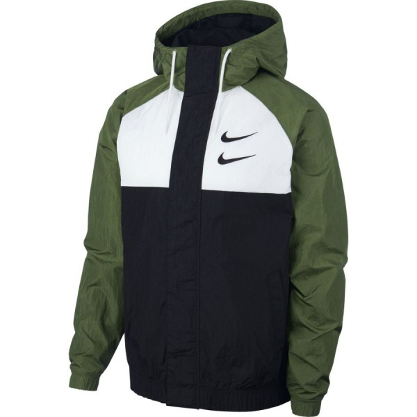 Nike Swoosh Hooded Jacket ( Black / White / Treeline / Black )