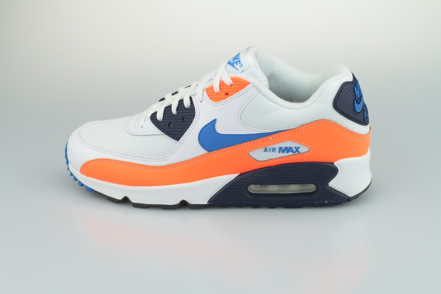 6e6b6bb738 Nike Air Max 90 Herrensneaker Weiß Orange Blau | Sneaker Circle